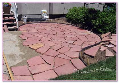 Red  Front Porch Benefits Flagstone Patios. Sand Patio Outdoor Concrete Slab