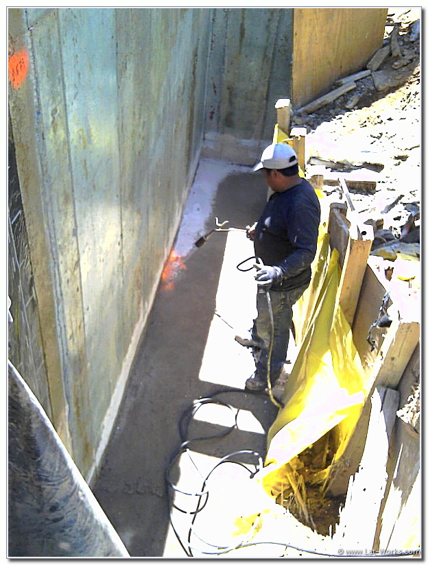 Foundation Preparation for Waterproofing. Drying by Gas Heater.